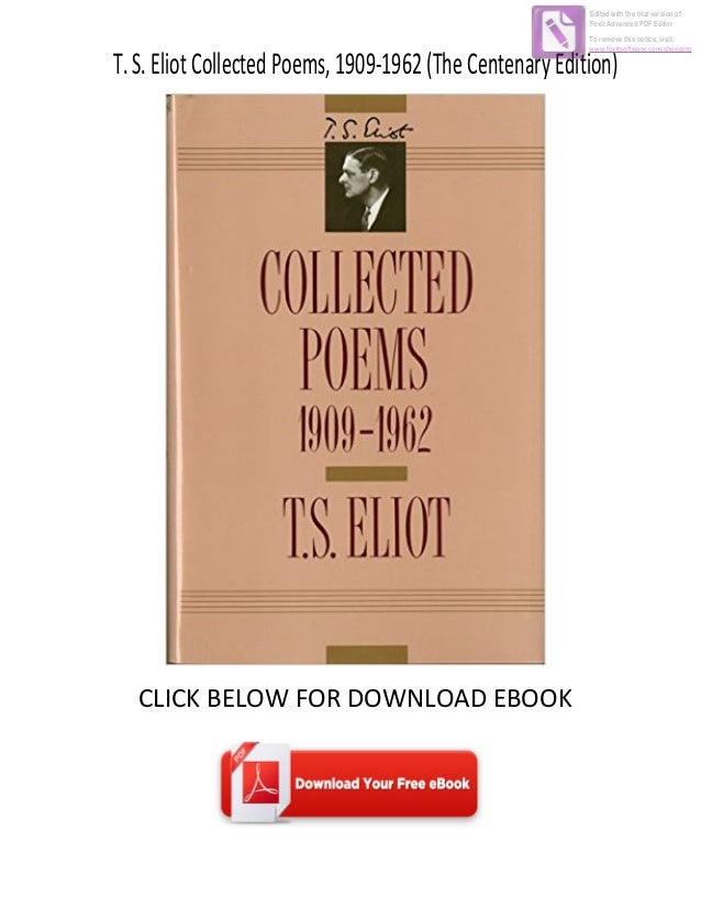 Download Ebook T S Eliot Collected Poems 1909 1962 The