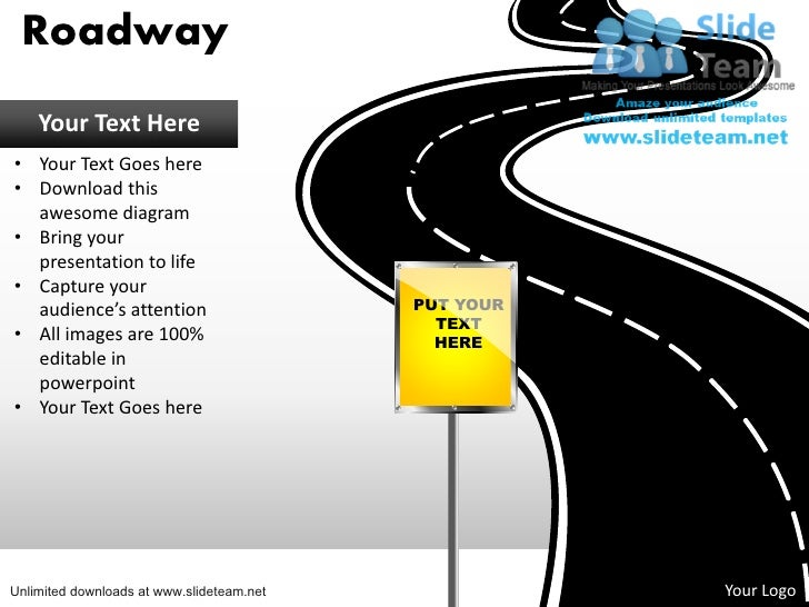 Download editable road map power point slides and road map powerpoint roadway your text here your text goes here download this awesome diagram bring ccuart Gallery