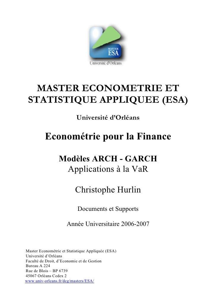 MASTER ECONOMETRIE ET STATISTIQUE APPLIQUEE (ESA)                           Université d'Orléans          Econométrie pour...