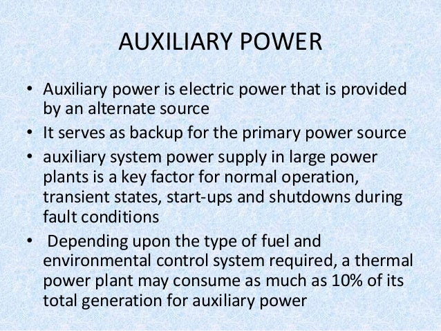 Auxiliary Power Supply Scheme For Thermal Power Plant