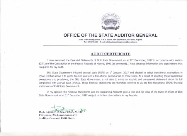 "~ .-"""","" .-![I, OFFICE OF THE STATE AUDITOR GENERAL State Audit Headquarters, P.M.B. 53554, New Secretariat, Ado-Ekiti, Ni..."