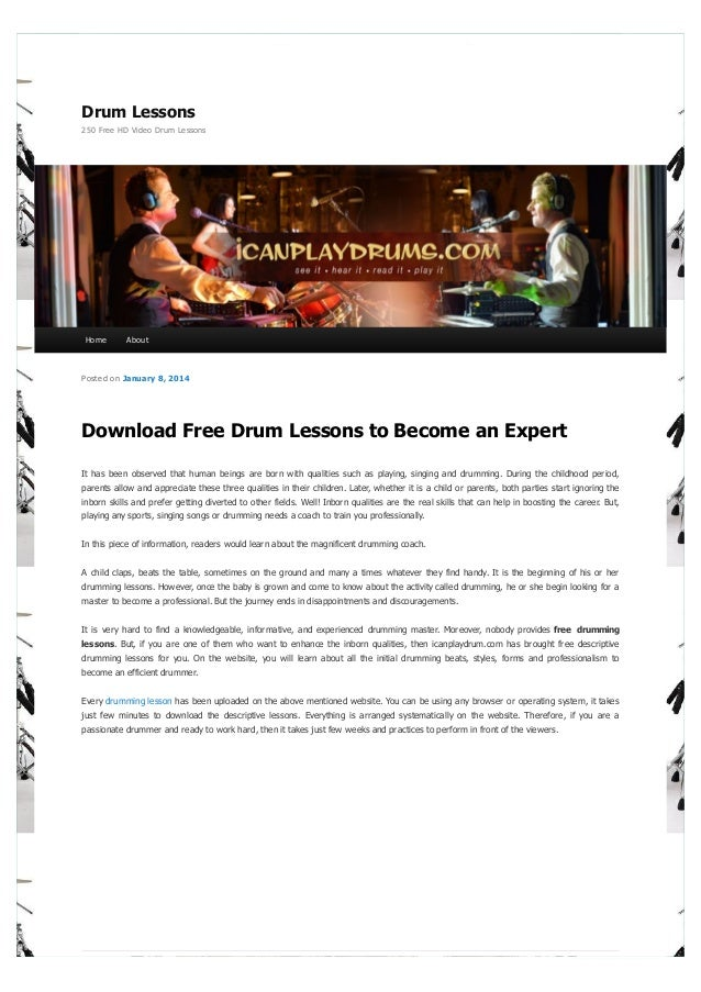 Download Free Drum Lessons to Become an Expert