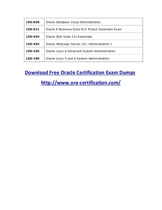 Download free oracle certification exam dumps