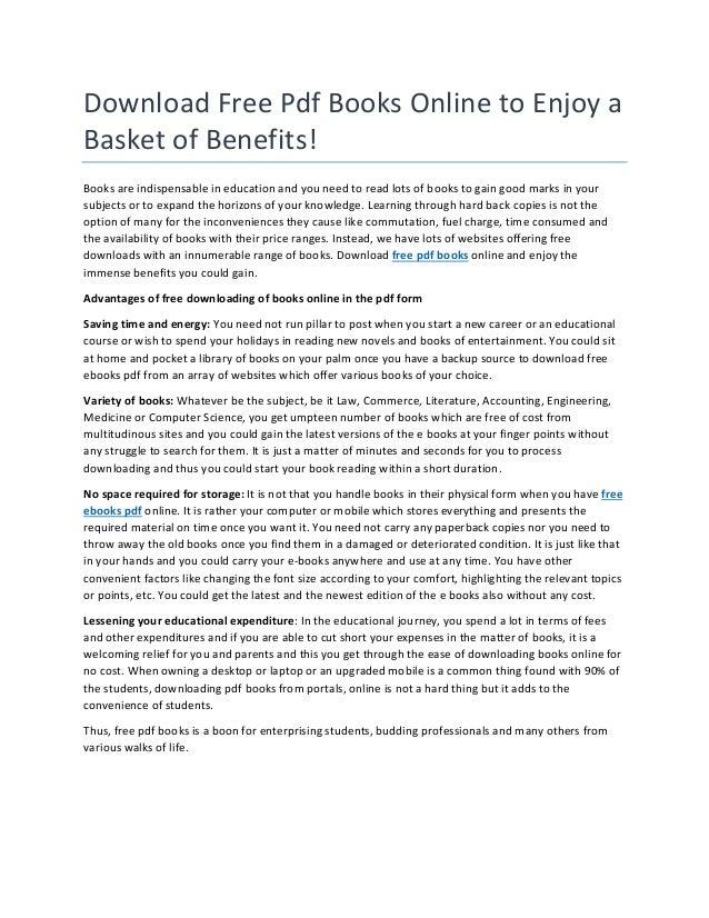 Download free pdf books online to enjoy a basket of benefits