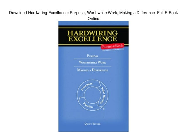 Download Hardwiring Excellence  Purpose  Worthwhile Work