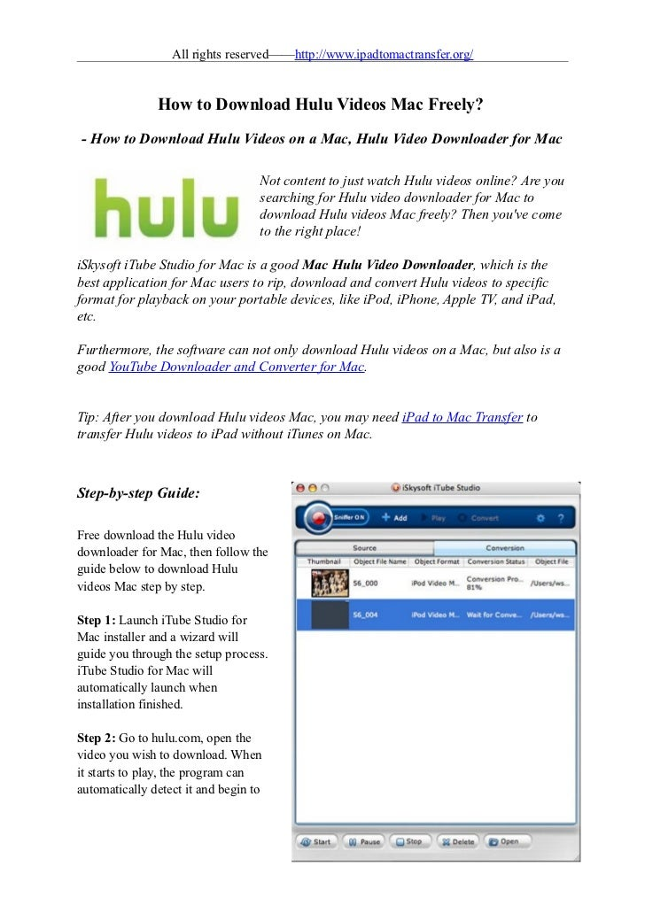 All rights reserved——http://www.ipadtomactransfer.org/               How to Download Hulu Videos Mac Freely?- How to Downl...