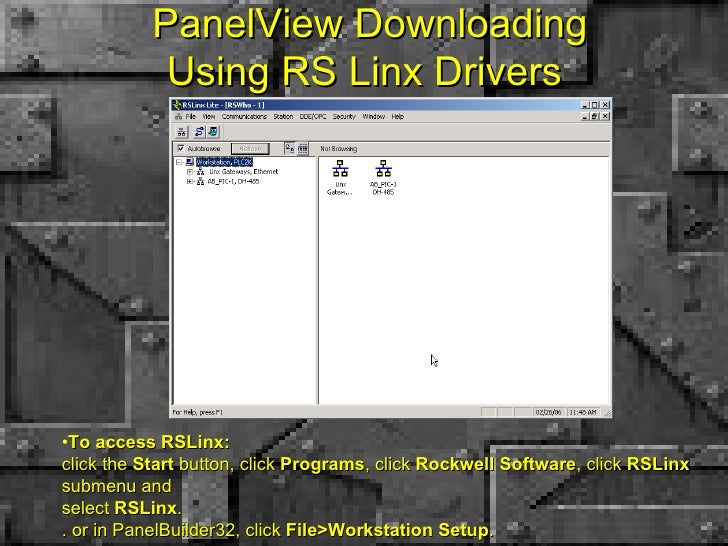 PanelView Downloading Using RS Linx Drivers  <ul><li>To access RSLinx: click the  Start  button, click  Programs , click  ...