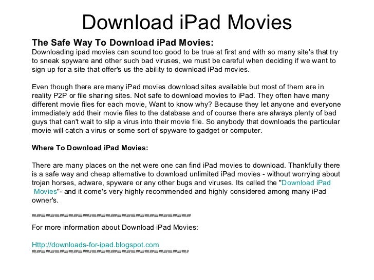 how to download movies on ipad