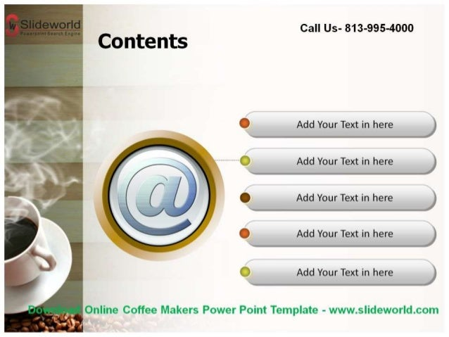 download online coffee makers powerpoint template. Black Bedroom Furniture Sets. Home Design Ideas