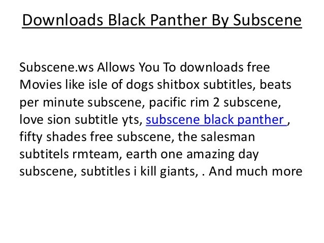 Downloads black panther by subscene