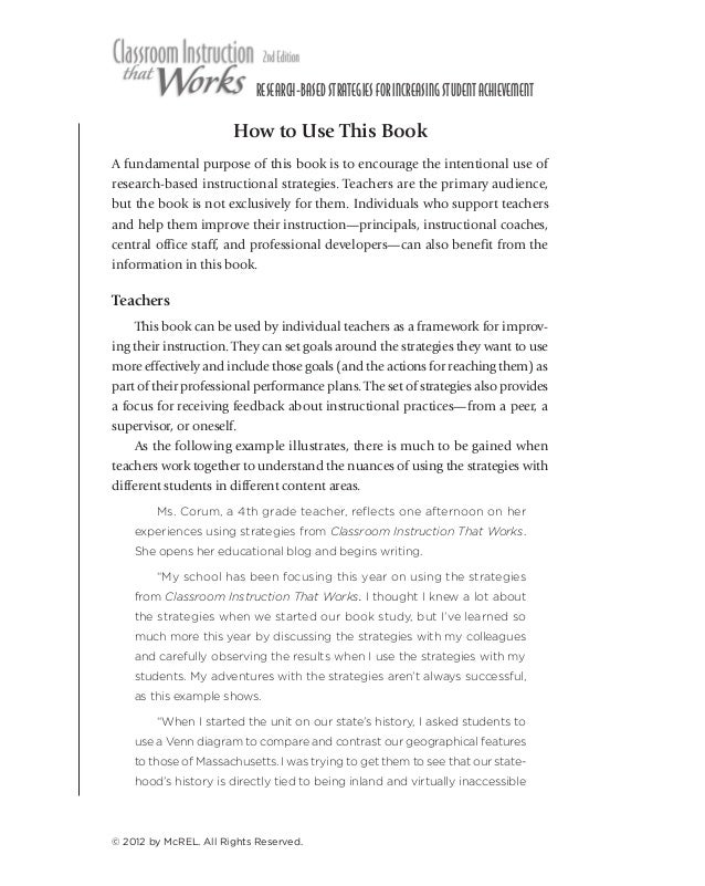 1  RESEARCH-BASED STRATEGIES FOR INCREASING STUDENT ACHIEVEMENT  How to Use This Book A fundamental purpose of this book i...