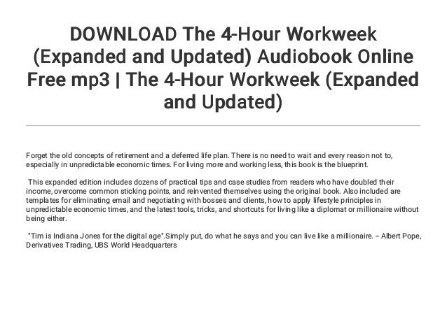 Download the 4 hour workweek expanded and updated audiobook online download malvernweather Choice Image