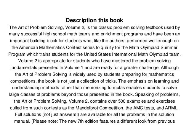 The Art of Problem Solving Volume 1 The Basics Solutions Manual