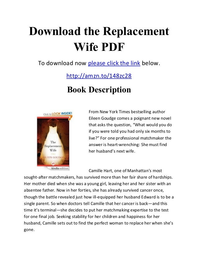Download the Replacement Wife PDF To download now please click the link below. http://amzn.to/148zc28 Book Description Fro...