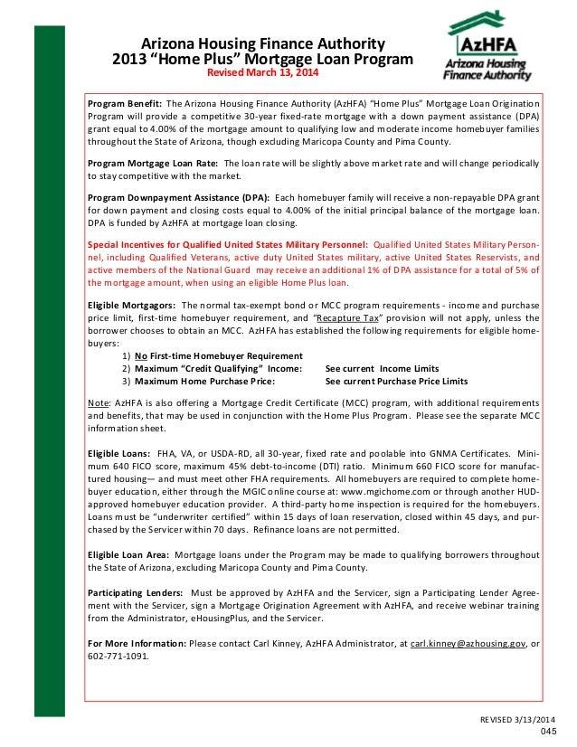 Down Payment Assistance Programs Az Booklet 04 22 14