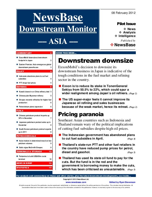 For analysis and commentary on these and other stories, plus the latest downstream developments, see inside… Copyright © 2...