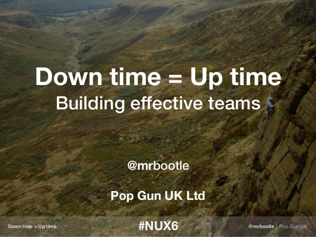 Down time = Up time Building effective teams @mrbootle Pop Gun UK Ltd #NUX6Down time = Up time @mrbootle | Pop Gun UK