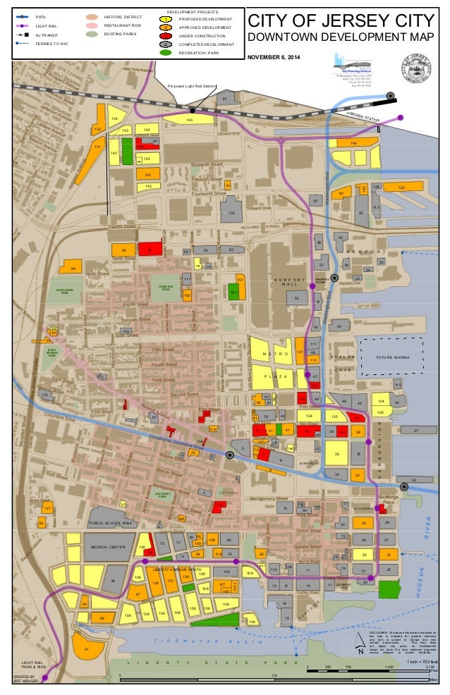 Jersey City Downtown Development Map - Map of jersey city