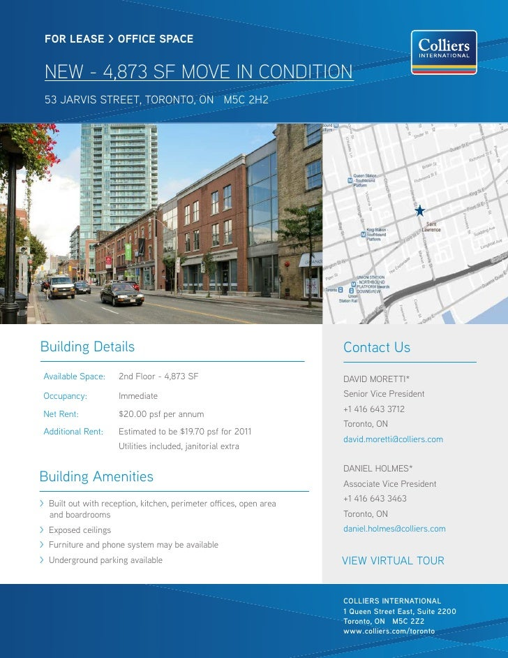 FOR LEASE > OFFICE SPACE NEW - 4,873 SF MOVE IN CONDITION 53 jarvis street, toronto, on M5C 2H2Building Details           ...