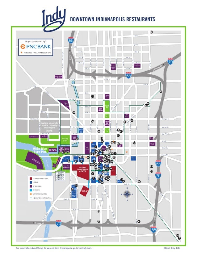 Down town restaurants map Downtown Indianapolis Hotels Map on