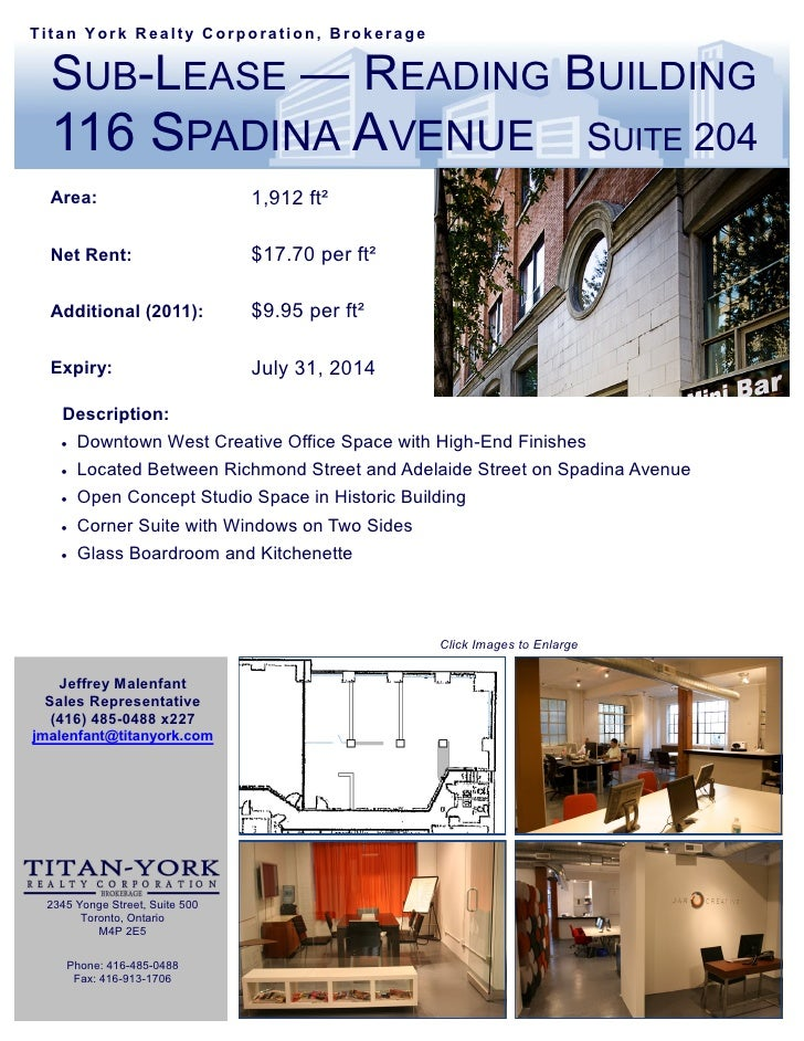 Titan York Realty Corporation, Brokerage  SUB-LEASE — READING BUILDING  116 SPADINA AVENUE                                ...