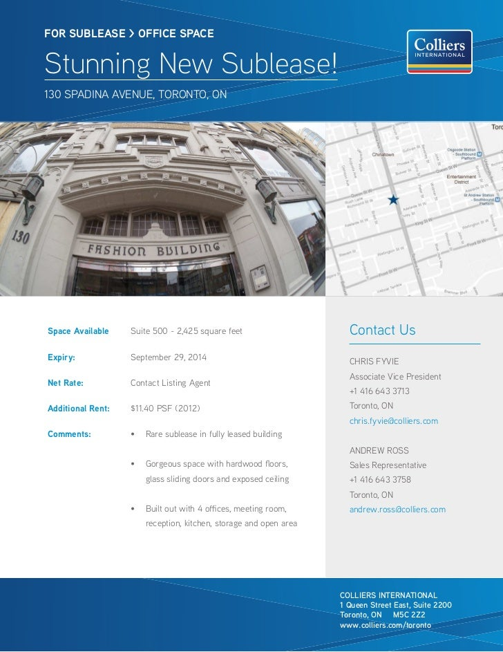 FOR SUBLEASE > OFFICE SPACEStunning New Sublease!130 SPAdinA Avenue, toRonto, onSpace Available    Suite 500 - 2,425 squar...