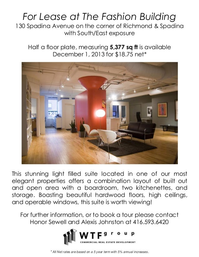 For Lease at The Fashion Building130 Spadina Avenue on the corner of Richmond & Spadinawith South/East exposureHalf a floo...