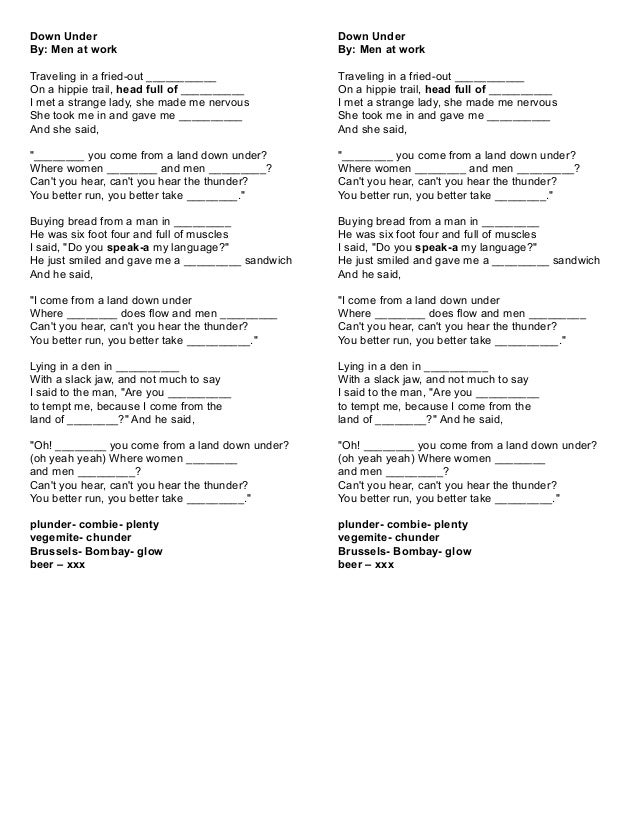Down Under Song Lyrics
