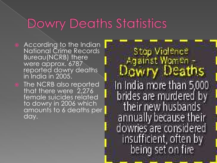 dowry deaths in india About 8,000 women in india died violent deaths in 2013 because their families  were unable to meet demands for more dowry, according to.