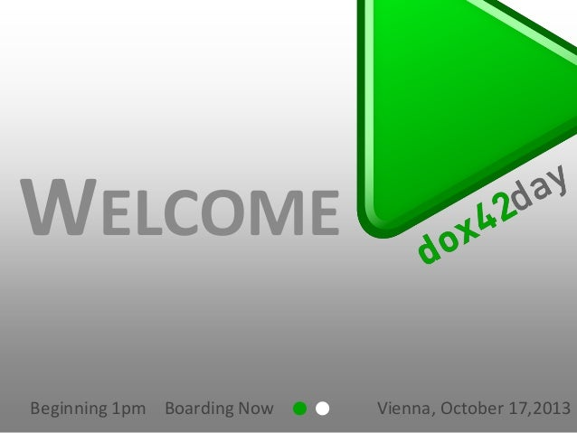 WELCOME Beginning 1pm Boarding Now  Vienna, October 17,2013