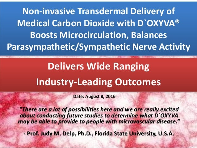 Non-invasive Transdermal Delivery of Medical Carbon Dioxide with D`OXYVA® Boosts Microcirculation, Balances Parasympatheti...