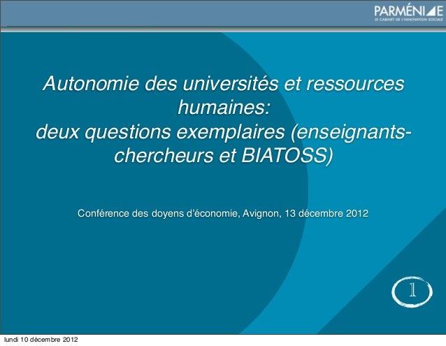 Autonomie des universités et ressources                        humaines:         deux questions exemplaires (enseignants- ...