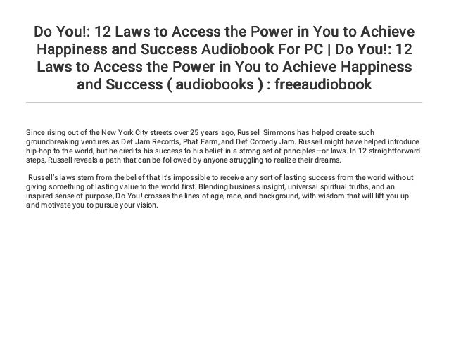 Do You!: 12 Laws to Access the Power in You to Achieve