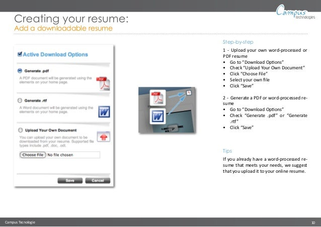 10 campus tecnologie 10 technologies creating your resume