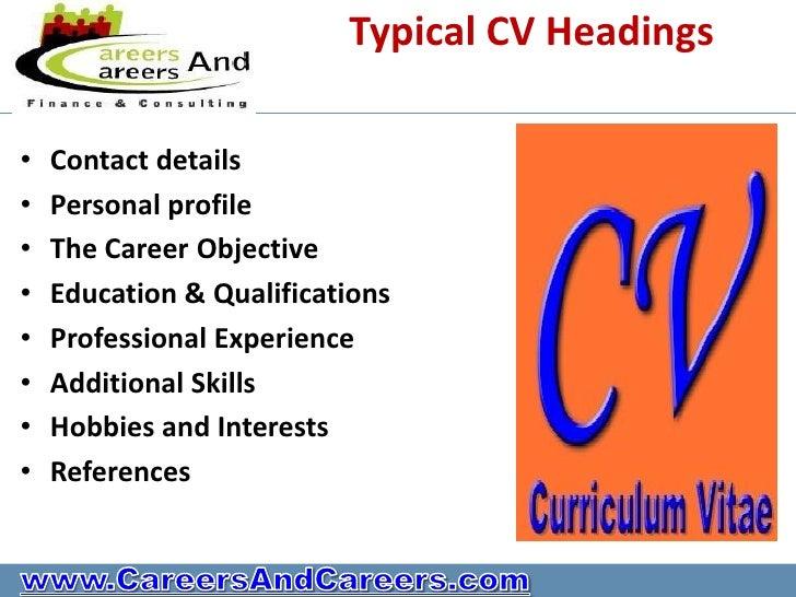 curriculum vitae headings