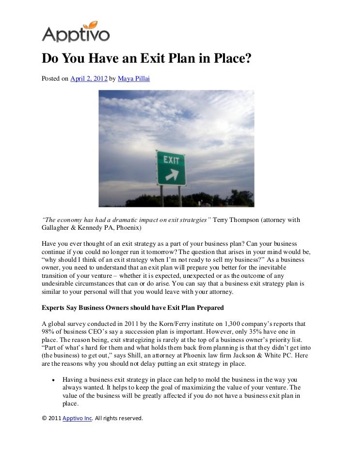 """Do You Have an Exit Plan in Place?Posted on April 2, 2012 by Maya Pillai""""The economy has had a dramatic impact on exit str..."""