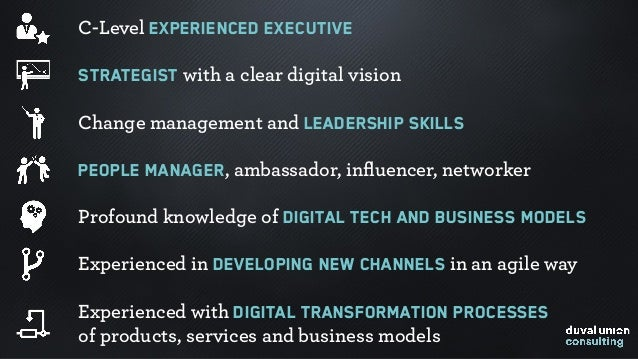 C-Level experienced executive Strategist with a clear digital vision Change management and leadership skills People manage...