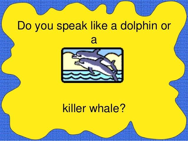 Do you speak like a dolphin or             a        killer whale?