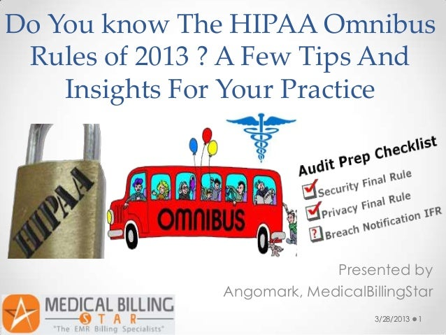 Do You know The HIPAA Omnibus Rules of 2013 ? A Few Tips And    Insights For Your Practice                            Pres...