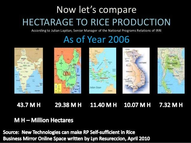 Now let's compare                RICE PRODUCTIONAccording to Julian Lapitan, Senior Manager of the National Programs Relat...