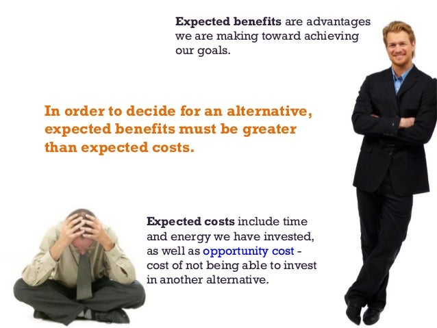 Expected costs include time and energy we have invested, as well as opportunity cost - cost of not being able to invest in...