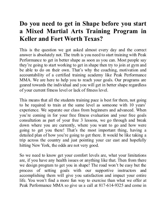 Do you need to get in Shape before you start a Mixed Martial Arts Tra…