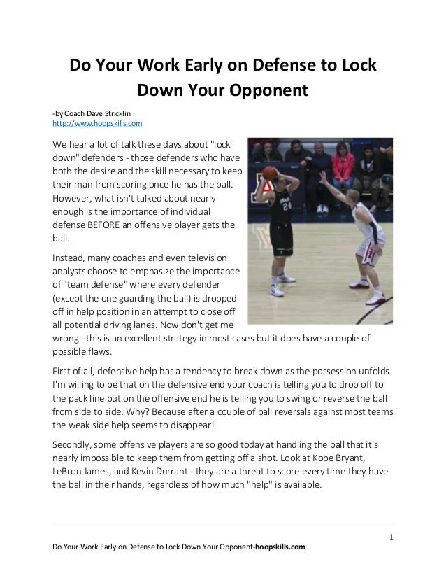 1 Do Your Work Early on Defense to Lock Down Your Opponent-hoopskills.com Do Your Work Early on Defense to Lock Down Your ...