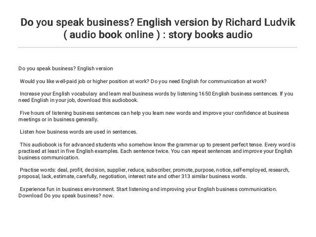 Do you speak business? English version by Richard Ludvik