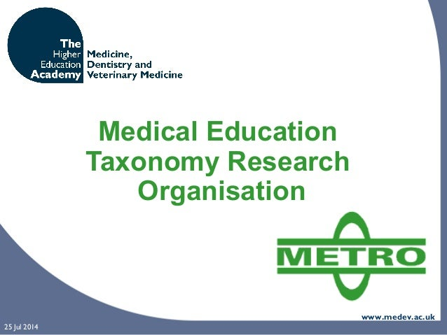 www.medev.ac.uk 25 Jul 2014 Medical Education Taxonomy Research Organisation