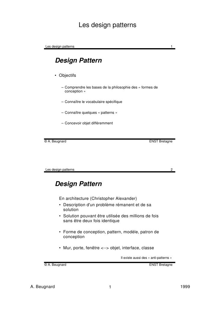 Les design patterns      Les design patterns                                                               1            De...