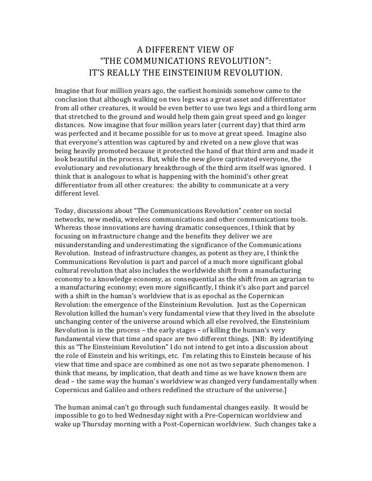 """A DIFFERENT VIEW OF<br />""""THE COMMUNICATIONS REVOLUTION"""":<br />IT'S REALLY THE EINSTEINIUM REVOLUTION.<br />Imagine that f..."""
