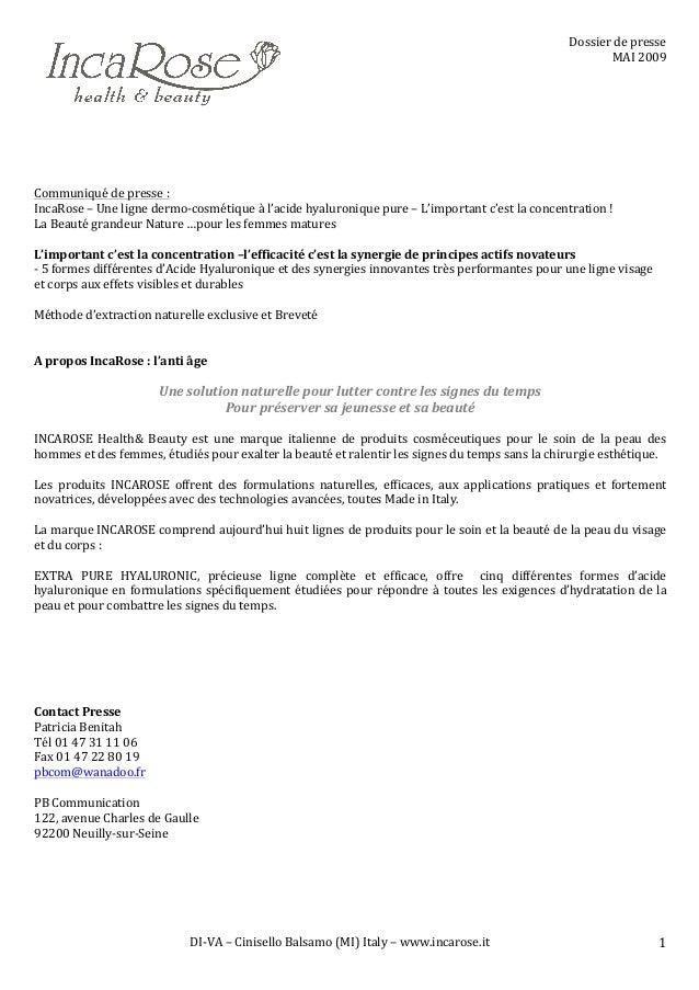 DI-‐VA  –  Cinisello  Balsamo  (MI)  Italy  –  www.incarose.it   1   Dossier  de  presse   MAI  ...
