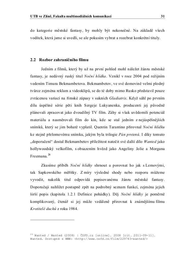 Jan Hubacek: Mestska fantasy  Diplomova prace, 2011