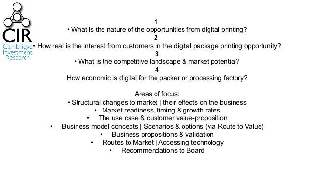 1 • What is the nature of the opportunities from digital printing? 2 • How real is the interest from customers in the digi...
